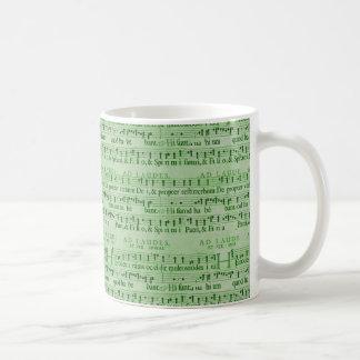 Musical Score Old Green Paper Design Basic White Mug