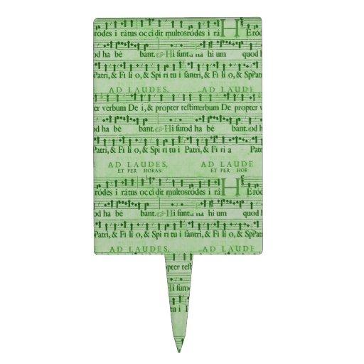 Musical Score Old Green Paper Design Cake Picks