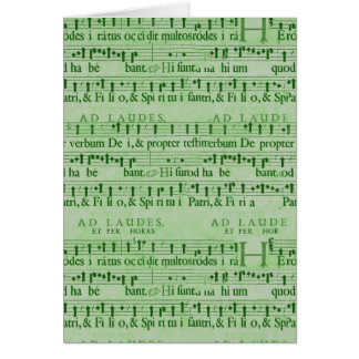 Musical Score Old Green Paper Design Greeting Card