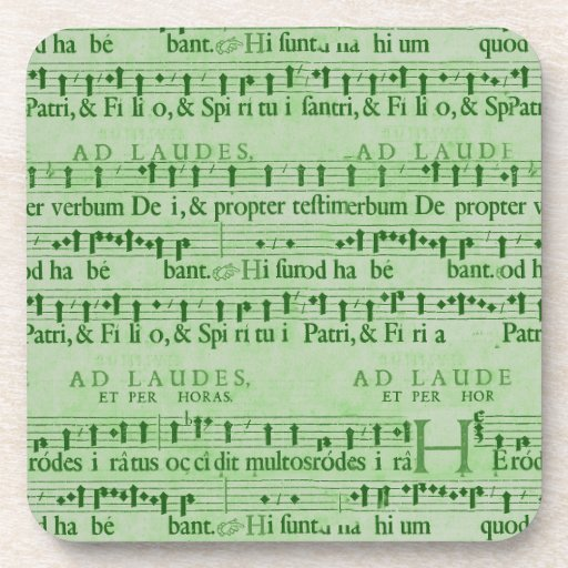 Musical Score Old Green Paper Design Coasters