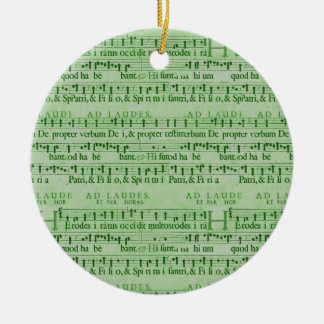 Musical Score Old Green Paper Design Christmas Tree Ornament