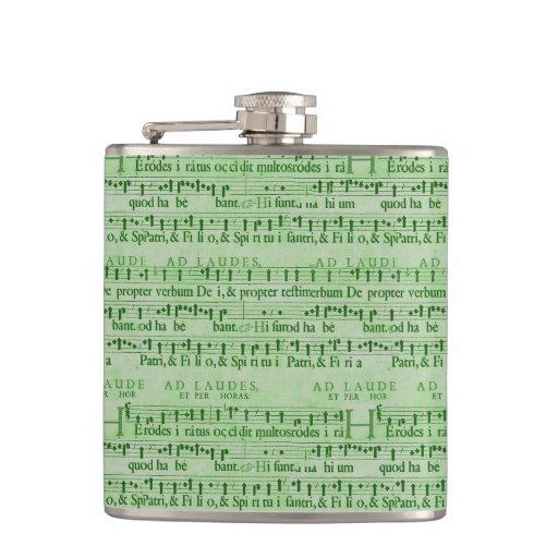 Musical Score Old Green Paper Design Flasks