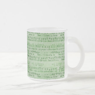 Musical Score Old Green Paper Design Frosted Glass Mug