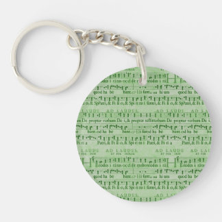Musical Score Old Green Paper Design Double-Sided Round Acrylic Keychain