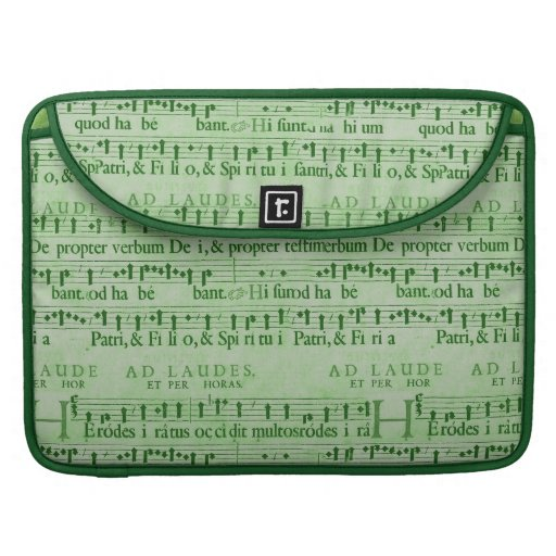 Musical Score Old Green Paper Design Sleeves For MacBooks