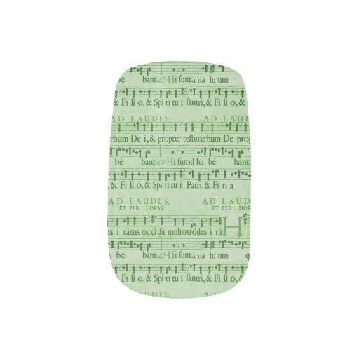Musical Score Old Green Paper Design Minx ® Nail Wraps