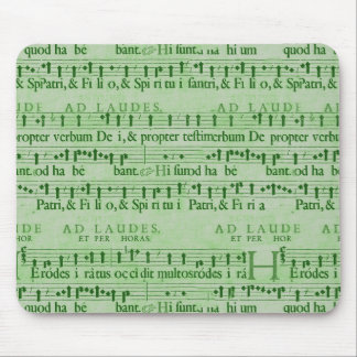 Musical Score Old Green Paper Design Mousepad