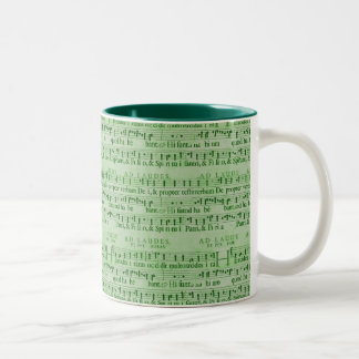 Musical Score Old Green Paper Design Coffee Mug
