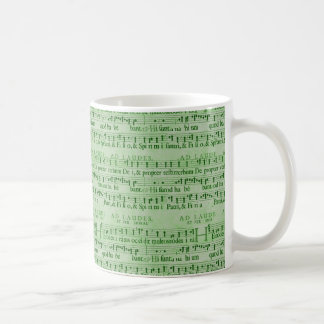 Musical Score Old Green Paper Design Coffee Mugs