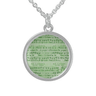 Musical Score Old Green Paper Design Custom Necklace