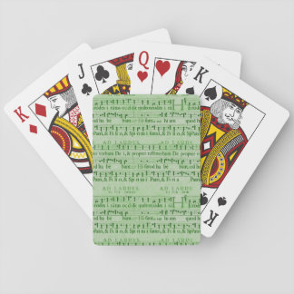 Musical Score Old Green Paper Design Poker Cards