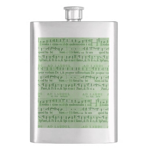 Musical Score Old Green Paper Design Flask