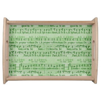 Musical Score Old Green Paper Design Serving Platters