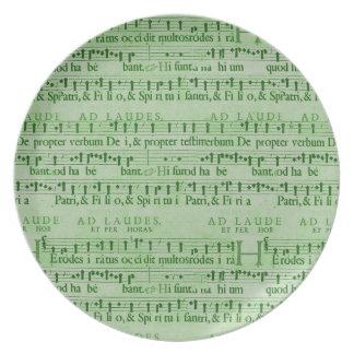Musical Score Old Green Paper Design Dinner Plate