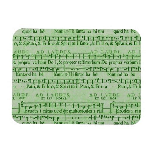 Musical Score Old Green Paper Design Rectangular Magnets