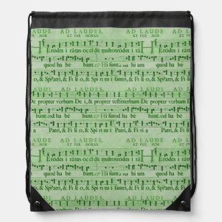 Musical Score Old Green Paper Design Rucksacks