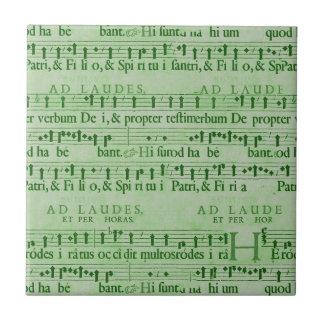Musical Score Old Green Paper Design Tile