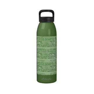 Musical Score Old Green Paper Design Drinking Bottle