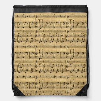 Musical Score Old Parchment Paper Design Drawstring Bags