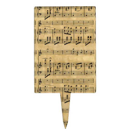 Musical Score Old Parchment Paper Design Cake Topper