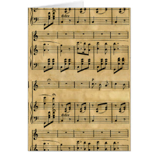 Musical Score Old Parchment Paper Design Greeting Card