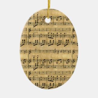 Musical Score Old Parchment Paper Design Ceramic Oval Decoration