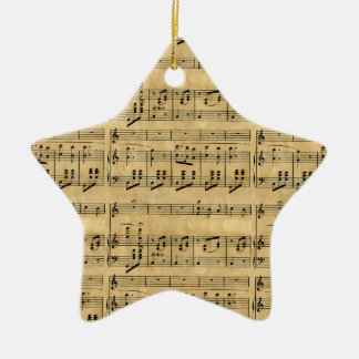 Musical Score Old Parchment Paper Design Christmas Ornament