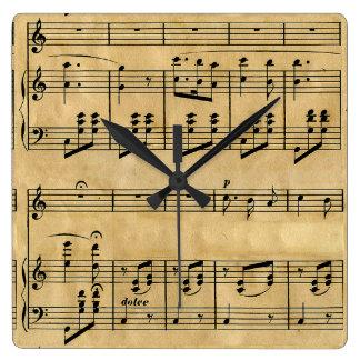 Musical Score Old Parchment Paper Design Clocks