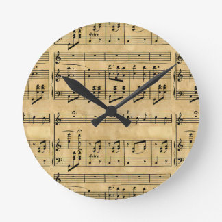 Musical Score Old Parchment Paper Design Round Wall Clocks