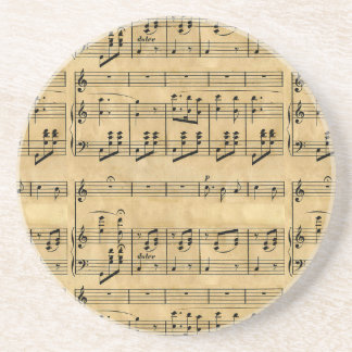 Musical Score Old Parchment Paper Design Beverage Coaster
