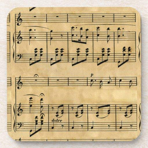 Musical Score Old Parchment Paper Design Beverage Coaster