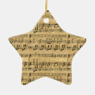 Musical Score Old Parchment Paper Design Ceramic Star Decoration