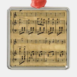Musical Score Old Parchment Paper Design Christmas Ornaments