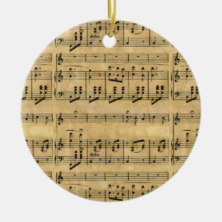 Musical Score Old Parchment Paper Design Christmas Tree Ornament