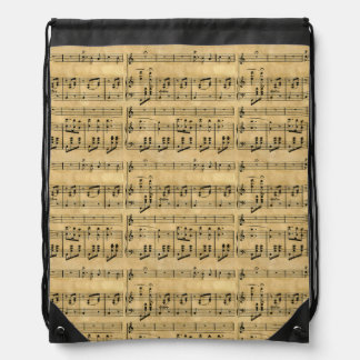 Musical Score Old Parchment Paper Design Drawstring Bags