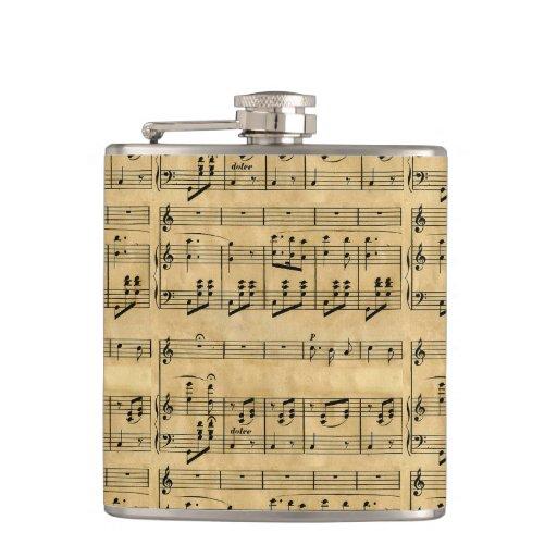 Musical Score Old Parchment Paper Design Hip Flasks