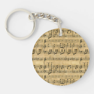 Musical Score Old Parchment Paper Design Double-Sided Round Acrylic Keychain