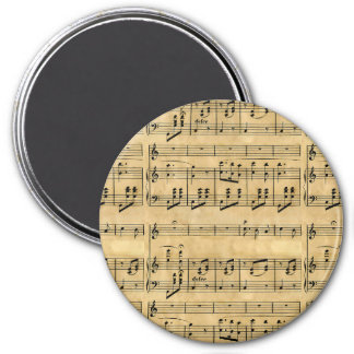 Musical Score Old Parchment Paper Design Refrigerator Magnet