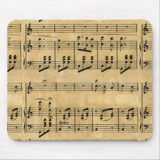 Musical Score Old Parchment Paper Design Mouse Pads