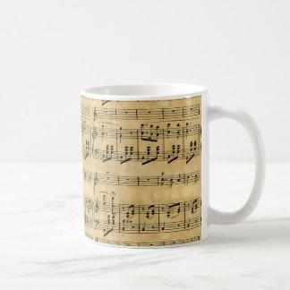 Musical Score Old Parchment Paper Design Mug