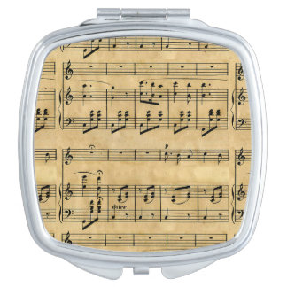 Musical Score Old Parchment Paper Design Vanity Mirrors