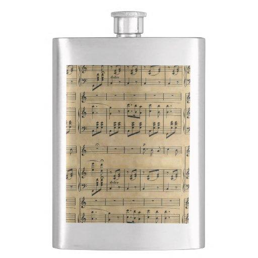 Musical Score Old Parchment Paper Design Flasks