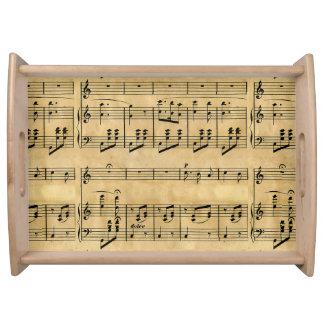 Musical Score Old Parchment Paper Design Serving Platters
