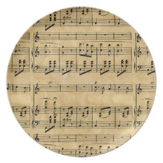 Musical Score Old Parchment Paper Design Dinner Plate