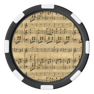 Musical Score Old Parchment Paper Design Poker Chips Set