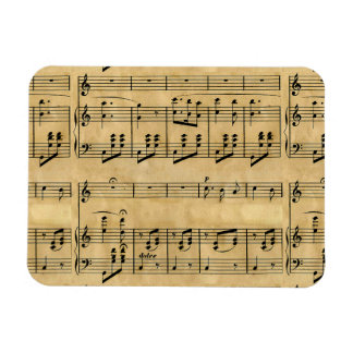 Musical Score Old Parchment Paper Design Rectangular Magnets