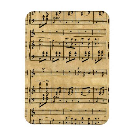 Musical Score Old Parchment Paper Design Flexible Magnets