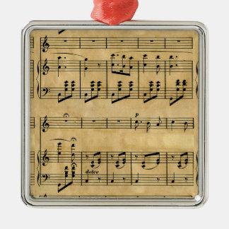Musical Score Old Parchment Paper Design Silver-Colored Square Decoration