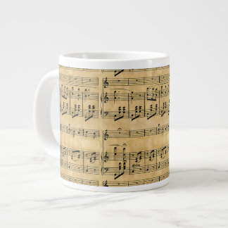 Musical Score Old Parchment Paper Design Jumbo Mugs