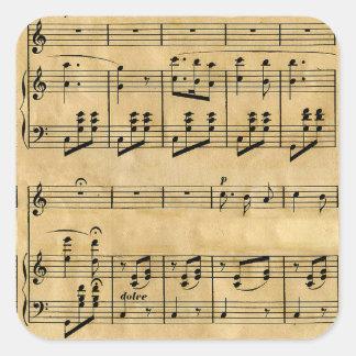 Musical Score Old Parchment Paper Design Square Sticker